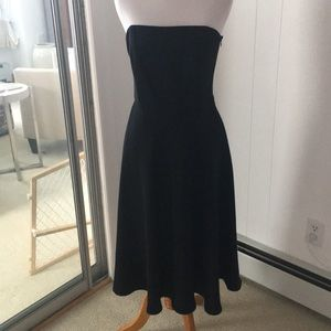 BananaRepublic strapless black fitted flare dress